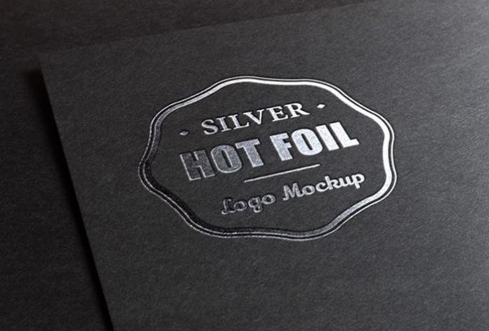 metallic foil stamping logo mockup 2400×1625 px