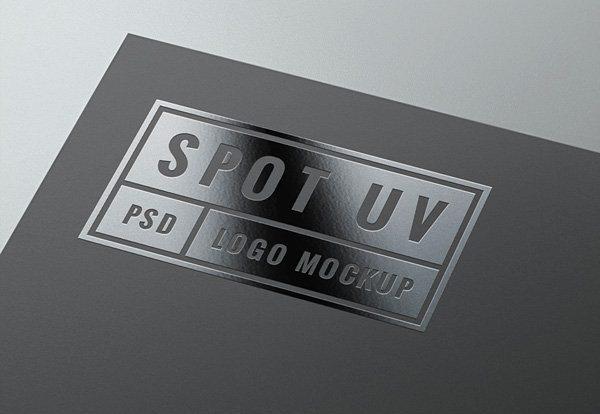 Free Glossy UV Logo PSD Mockup