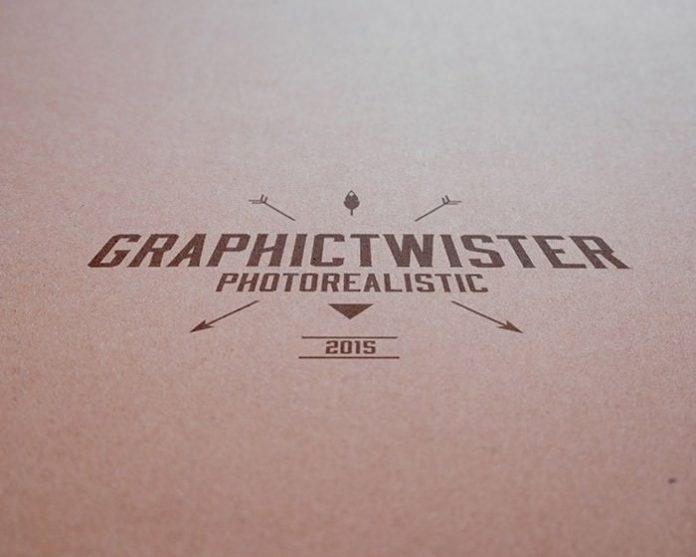 Realistic vintage paper branding logo mockup