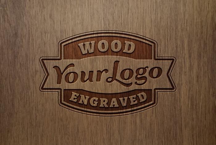Dark Wooden Logo Mockup