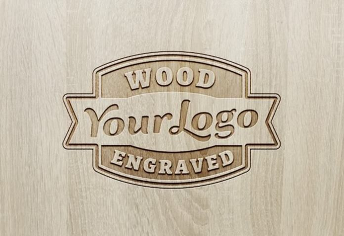 Wooden Logo Mockup With Engraved Effect