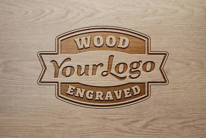 Light Wood Logo Mockup With Engraved Effect
