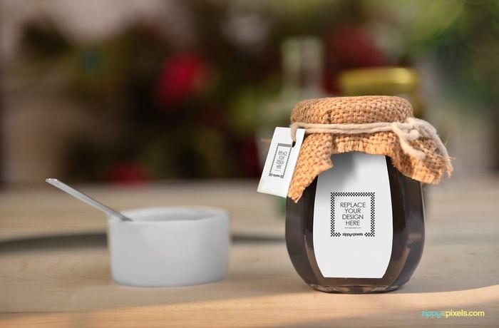 PSD Honey Jar Mockup 3500x2300
