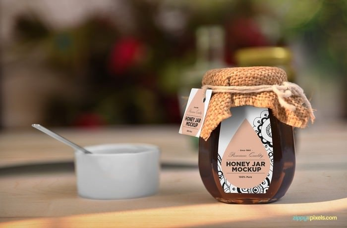 PSD Honey Jar With Tag Label