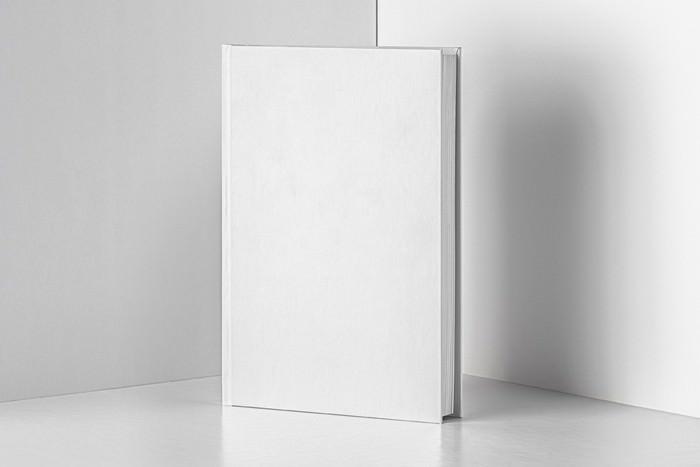 Blank hardcover book PSD mockup