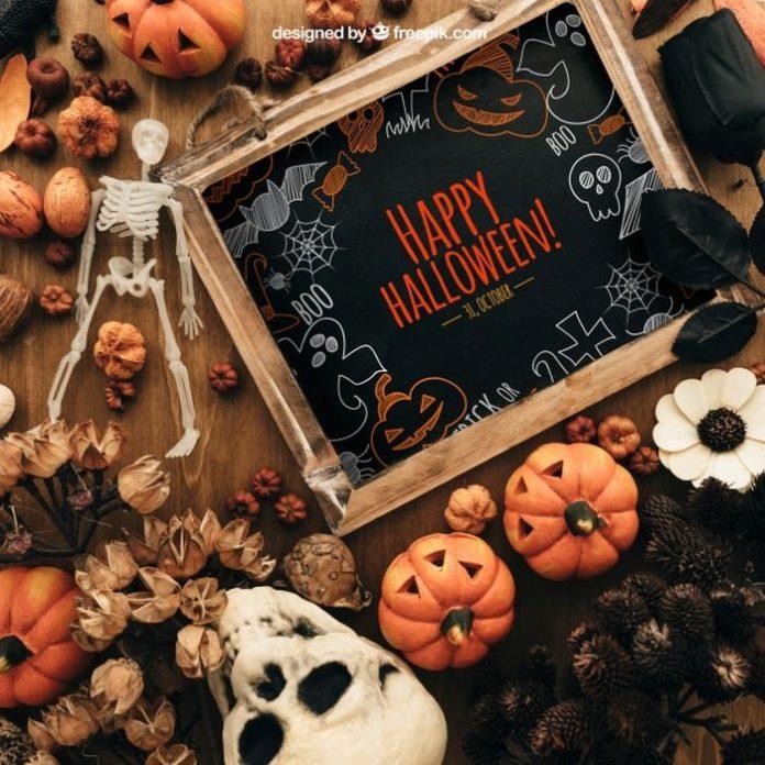 Amazing Halloween Mockup PSD With Slate Board