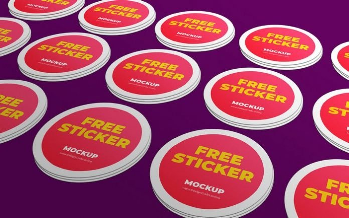 Free Rounded Sticker Mockup PSD