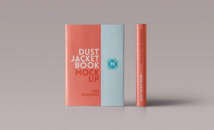 Hardcover Book Mockup PSD With Dust Jacket