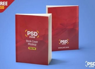 Free Standing Book Cover PSD Mockup