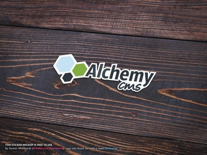 Free Sticker Mockup on Wooden Table
