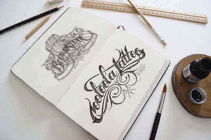 photo realistic Artist Sketch Book Mockup PSD