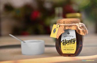 Beautiful Honey Packaging Jar Mockup PSD